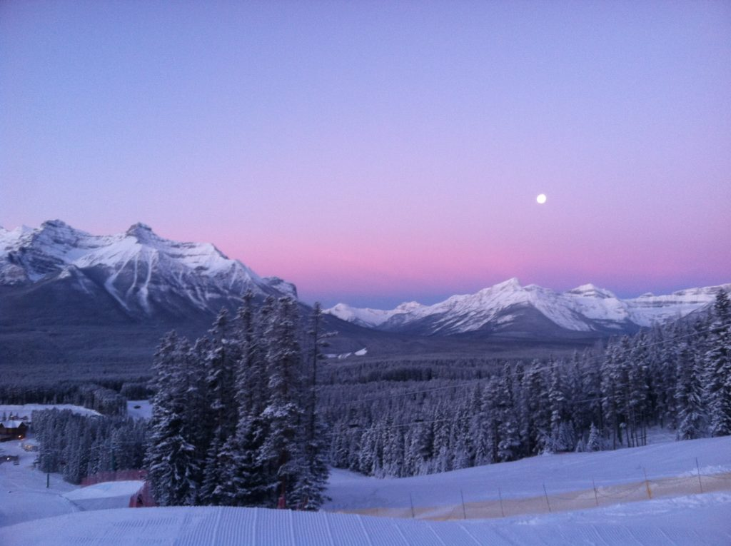 Moon sets in Lake Louise